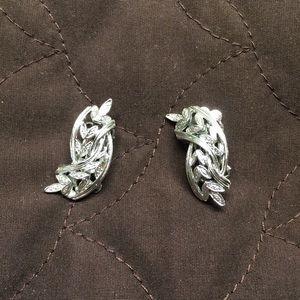 Vintage Silver Tone Twisted Leaf Earrings